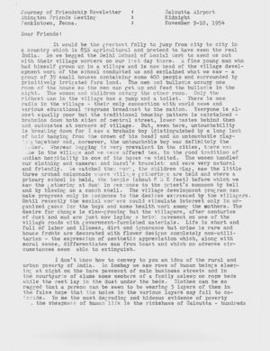 Letter from Dorothy Hutchinson to Friends, November 9-10 , 1954