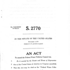 92d Congress 1st Session S. 2770 an Act to Amend the Federal Water Pollution Control Act