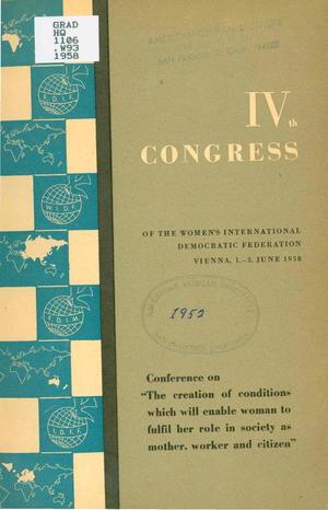 IVth Congress of the Women's International Democratic Federation, Vienna, 1-5 June 1958