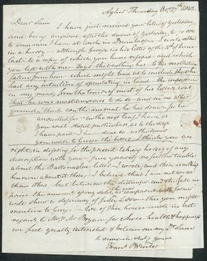 Letter from Frank Winter to Samuel Pratt Winter, October 27, 1842