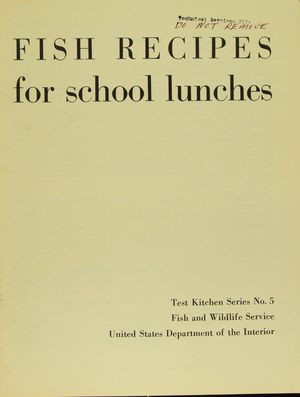 FISH RECIPES for school lunches