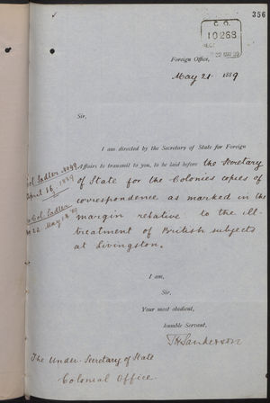 Correspondence re: Ill Treatment of British Subjects at Livingston, March 16-May 21, 1889