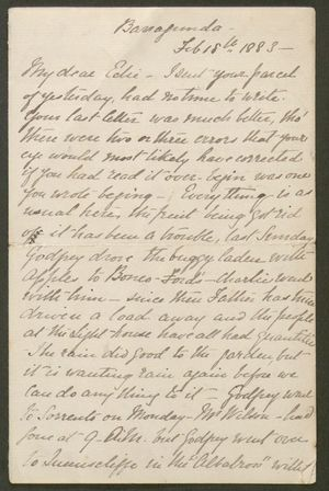 Letter from Edith Anderson to Edith Thompson, February 18, 1883