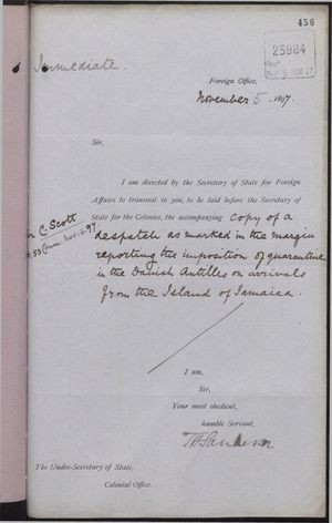 Correspondence re: Quarantine of Jamaicans in the Danish Antilles, November 3 - 5, 1897