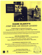 Flyer for Jump Kiss: An Indian Legend by Diane Glancy, workshop production by Native Voices at the Autry Museum of Western Heritage in the Wells Fargo Theatre, Los Angeles, CA on November 4, 2001.