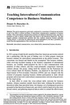 Teaching Intercultural Communication Competence to Business Students
