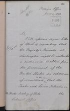 Letter from T. H. Sanderson to Under Secretary of State, Colonial Office, June 4, 1892