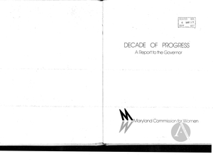 Decade of Progress: A Report to the Governor, 1976