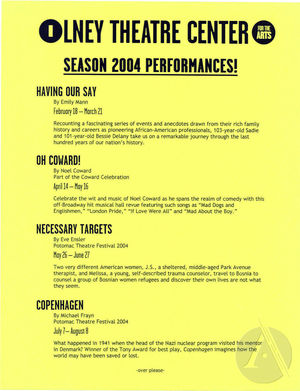 Flyer for the 2004 Season at the Olney Theatre Center, Olney, MD