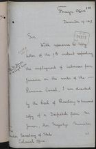 Letter from T. H. Sanderson to Under Secretary of State, Colonial Office, December 19, 1892