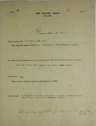 Cover Sheet for Roy R. Watson referencing Enclosed Memo from Chief Quartermaster R. E. Wood to Governor Goethals re: Inspection of Silver Married Quarters, September 1914