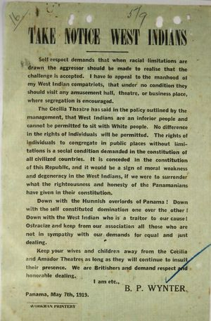 Circular re: Take Notice West Indians about Cecilia Theatre Seating Policy for West Indians, signed by B. P. Wynter, May 7, 1919