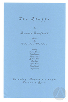 Handbill for The Bluffs by Bonnie Banfield, produced by the Frank Silvera Writers Workshop at the National Black Theatre Festival, Winston-Salem, NC, August 9, 2003