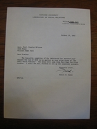 Robert F. Bales to Stanley Milgram, October 29, 1965