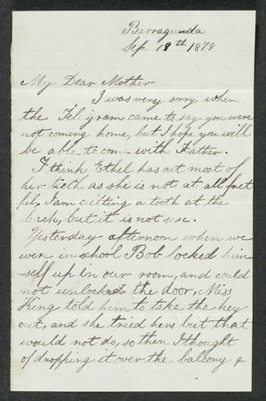 Letter from Edith Anderson to My Dear Mother, September 19, 1878