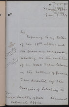 Letter from T. H. Sanderson to Under Secretary of State, Colonial Office, June 3, 1889