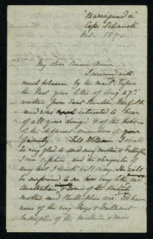 Incomplete Letter from Edith Thompson to My dear Cousin Annie, October 1893