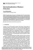 Internationalisation of Business Education