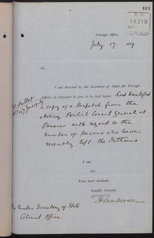 Letter from T. H. Sanderson to Under Secretary of State, Colonial Office, with Enclosed Letter from C. Mallet to Marquis of Salisbury, July 17, 1889