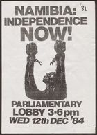 Anti-Apartheid Movement flyer, re: Namibia: Independence Now!, December 12, 1984