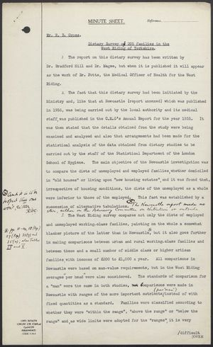 Letter to Mr. R.B. Cross re: Dietary Survey of 205 Families in the West Riding of Yorkshire, February 22, 1939