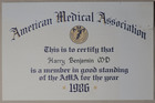 American Medical Association Membership Certificate, 1986