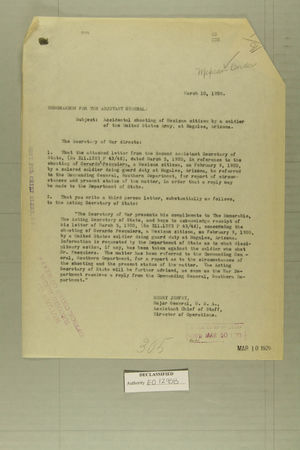 Combined Correspondence Discussing Alleged Violations by U.S. Border Forces, March 10 - April 2, 1920