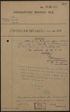 Correspondence from UK Immigration Branch re: Jamaican Workers for the United Kingdom, 1948