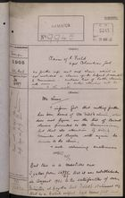 Colonial Office Correspondence Register, re: Letter from Foreign Office on Claims of R. Field Against Colombian Government, with Related Minutes, March 1905