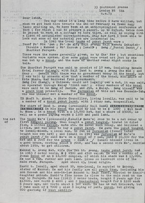 Letter from Raymond Firth to Ishak Shari, May 6, 1979
