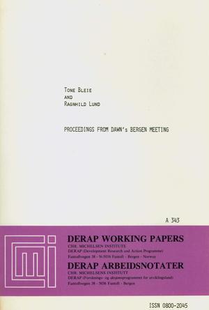 Proceedings from DAWN's Bergen Meeting