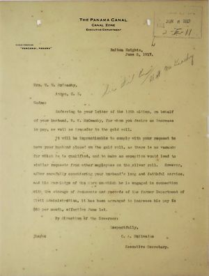 Letter from C. A. McIlvaine to Mrs. W. W. McGeachy re: Increase in Husband's Salary, June 5, 1917