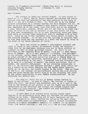 Letter from Dorothy Hutchinson to Friends, November 6, 1954