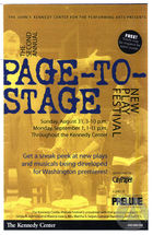 Brochure for the 2nd Annual Page-to-Stage Festival at the Kennedy Center, Washington, DC, August 31-September 1, 2003.