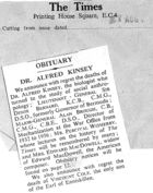 Obituary - Dr. Alfred Kinsey