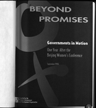 Beyond Promises: Governments in Motion One Year after the Beijing Women's Conference, September 1996
