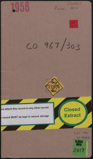 File Folder Cover: CO 967/303 - 1956