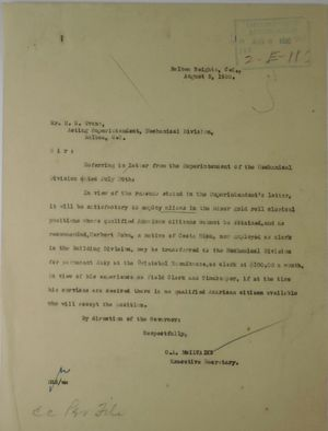 Letter from C. A. McIlvaine to H. M. Evans, August 5, 1920