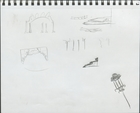 As You Like It: Thumbnail idea sketches for columns, trees, chandeliers and platforms