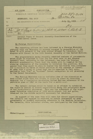 Israeli Fears of General Assembly Consideration of the Arab-Israel Issue, July 30, 1956