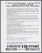 A BAS LE REGIME GAULLISTE ANTI-POPULAIRE DE CHOMAGE ET DE MISERE