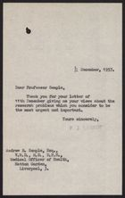 Letter from P. J. Harrop to Andrew Semple, December 12, 1957