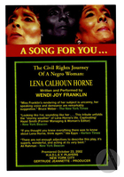 Handbill for A Song for You . . . By Wendi Joy Franklin, produced by the National Black Theater Festival at the Wake Forest Ring Theatre, Winston-Salem, NC, August 8-9, 2003