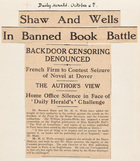 Shaw and Wells In Banned Book Battle