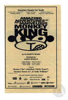 Handbill for Amazing Adventures of the Marvelous Monkey King by Elizabeth Wong, produced by the Honolulu Theatre for Youth, October 19-November 9, 2002.  Directed by Harry Wong III.