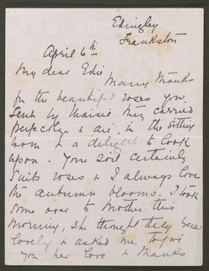 Letter from Agnes Howitt to Edith Thompson, April 6