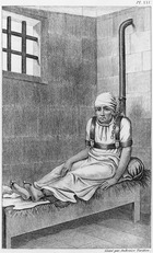 Chained insane at Bedlam, illustration from 'Des Maladies Mentales considerees sous le rapport medical, hygienique et medico-legal' by Etienne Esquirol (1772-1840) plate XXV, 1838 (engraving) (b/w photo)