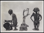 2 figurines performing various tasks and an animal