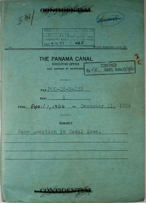 Folder: Panama Canal Executive Office, Asst. Engineer of Maintenance - File PCC-28-B-233 - Race Question in Canal Zone