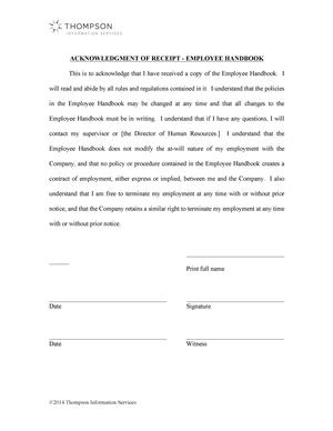 Acknowledgement of Receipt of Employee Handbook